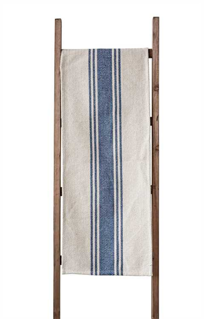 Rustic Striped Farmhouse Table Runner - BLUE