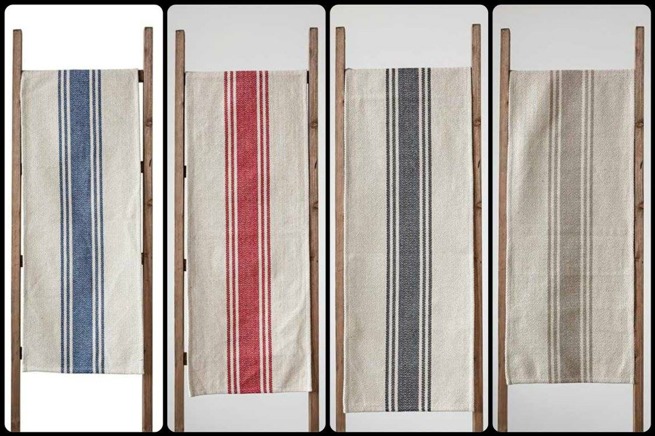 Rustic Cotton Canvas Table Runner with Stripes 72 Inches