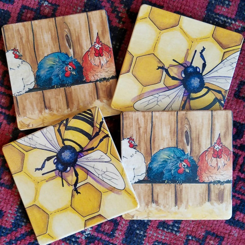 Honeybees and Chickens Coaster Set