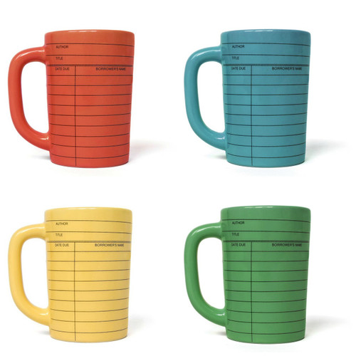Ceramic 12 oz Due Date Library  Card Mug Choice of Four Colors