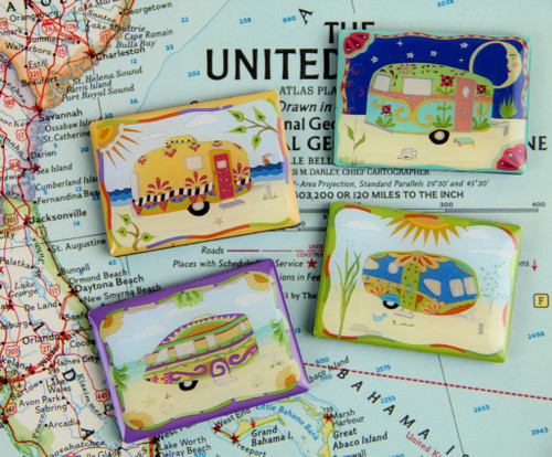 Vintage Camper/Trailer Magnets - Set of Four