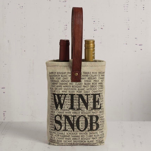 WINE SNOB Double Bottle Wine Tote Caddy