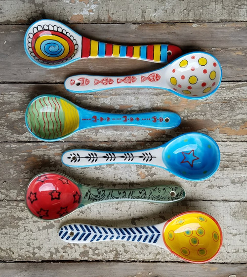 "Set of Six 6"" Hand-Painted Stoneware Spoons"