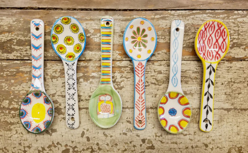 """Set of Six Colorful Hand-Painted Stoneware Spoons 5.25"""""""