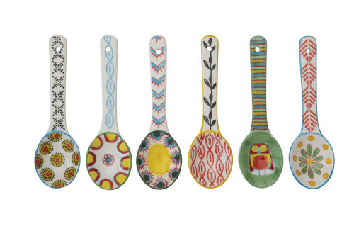 Set of Six Colorful Hand-Painted Stoneware Spoons 5.25""