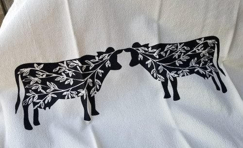 Summer Cows Flour Sack Tea Towel (BLACK)