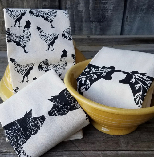 Sassy Hens & Roosters Flour Sack Farmhouse Tea Towel (BLACK) All 3 patterns