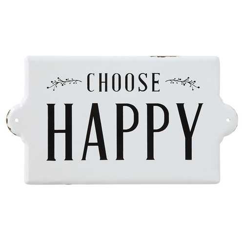 Choose Happy Enameled Wall Plaque