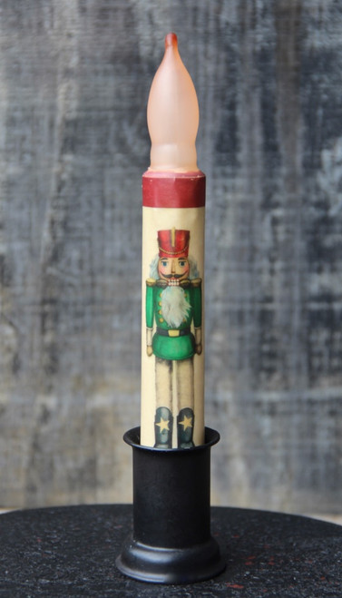 LED Battery Candle for Christmas Green Nutcracker