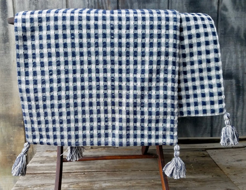 Navy and White Waffle Weave Cotton Table Runner with Tassels