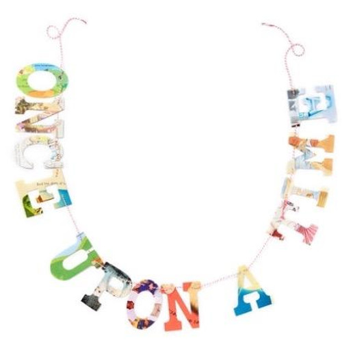 'Once Upon a Time' Upcycled Baby Book Garland Kit
