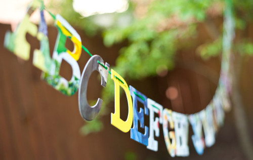 Alphabet Garland Upcycled Baby Book Garland Kit