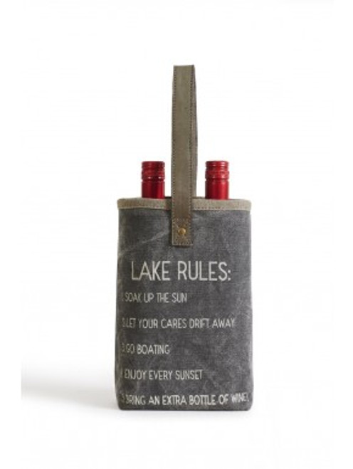 Lake Rules Double Wine Bottle Tote by Mona B