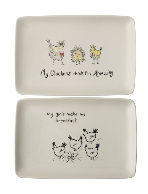 Stoneware platter with chickens in two styles.