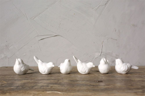 Set of Six Little White Ceramic Birds