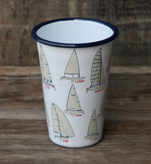 14oz Enamel Tumbler with Sailboat Pattern
