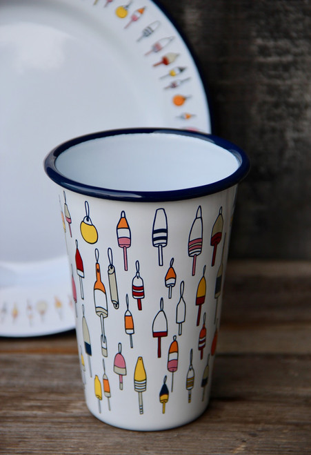 14oz Enamel Tumbler with Buoy Pattern
