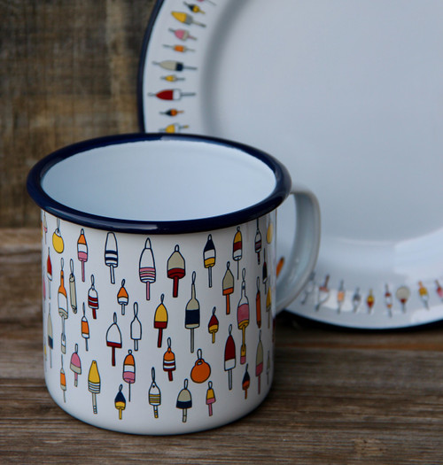 16oz Enamel Mug with Buoy Pattern