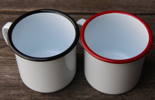 16oz Enamel Mug  Classic White with Colored Rim