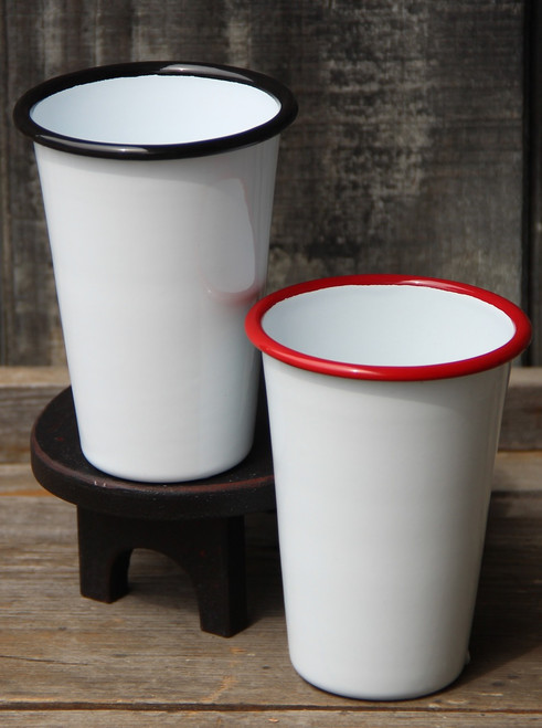 14oz Enamel Tumbler Classic White with Colored Rim