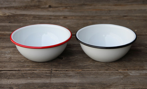 Enamel Cereal Bowl Classic White with Colored Rim