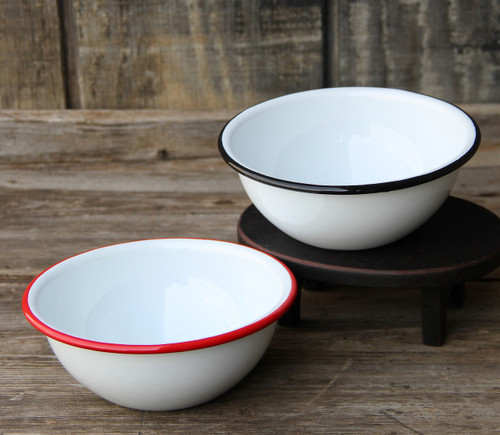 Farmhouse Enamelware Cereal Bowl White w Red or Black Rim  - A