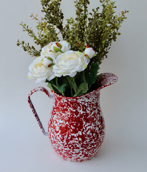 Large Enamelware Pitcher in Red Spatter Pattern