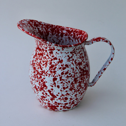 Small Enamelware Pitcher in Red Spatter Pattern