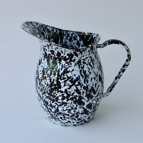 Small Enamelware Pitcher in Black Spatter Pattern