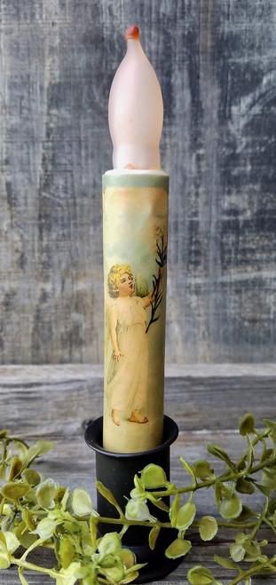 Angel with Easter Lilies LED Battery Candle