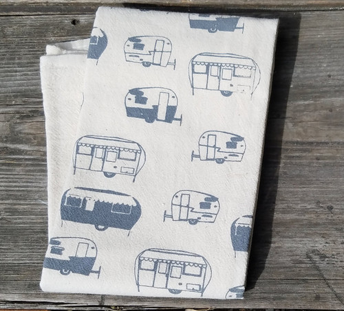 Vintage Trailer Flour Sack Towel Charcoal
