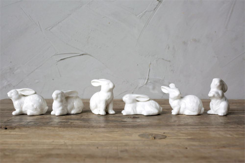 Set of Six White Ceramic Bunnies