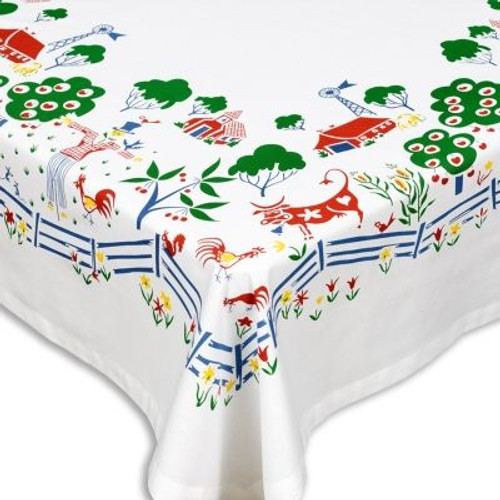 Itty Bitty Farm Vintage-Inspired Farmhouse Tablecloth - Corner