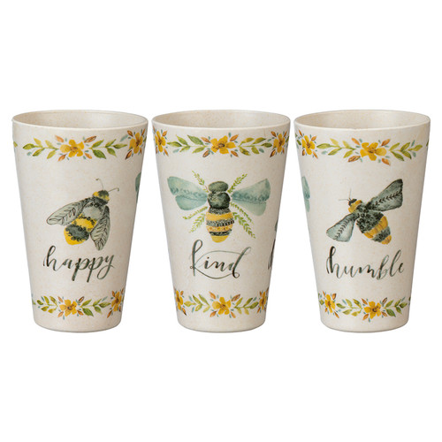 Set of 3 Bee Happy, Kind, Humble Melamine Tumblers, 20oz