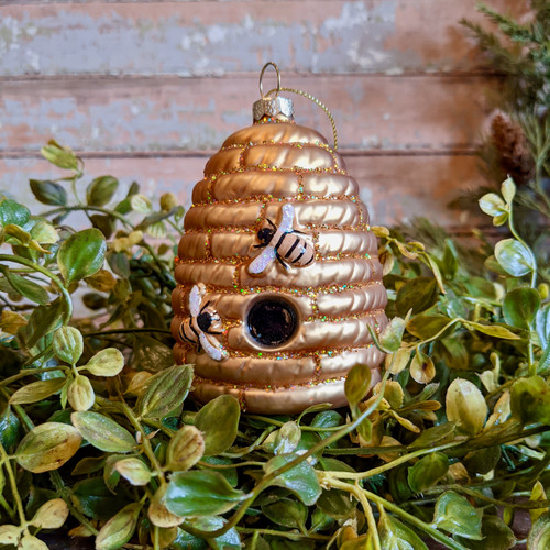 Hand-Painted Glass Bee Skep Ornament - A