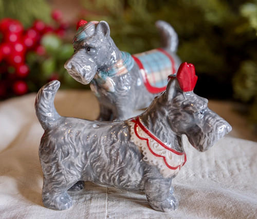 Pair of Festive Scottie Dog Salt and Pepper Shakers - A