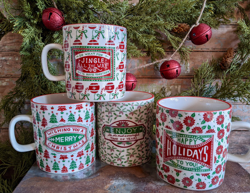 16 oz Stoneware Holiday Mug Merry Christmas Holiday Entertaining  - A