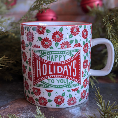 16 oz Stoneware Holiday Mug Merry Christmas Holiday Entertaining - HAPPY HOLIDAYS
