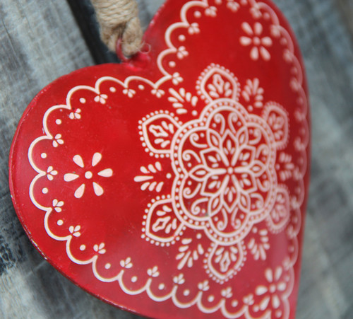 "Hand-Painted & Distressed Metal Heart Christmas Ornament 5"" Tall"