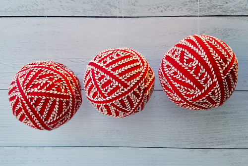 Set of Three Red & White Ribbon Christmas Ornaments