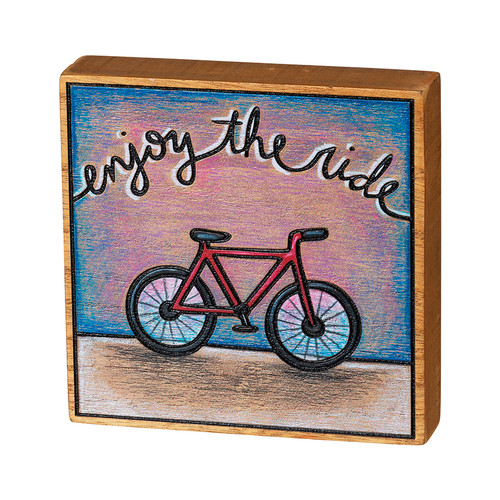 "Enjoy the Ride Burnt-Wood Block Sign 4.5"" Square"
