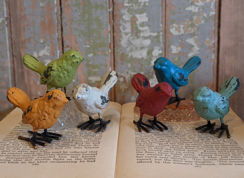 Set of Six Colorful Cast Iron Bird Figures  - A