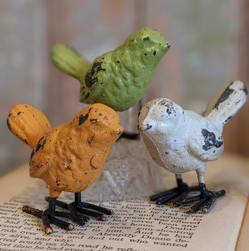 Set of Six Colorful Cast Iron Bird Figures  - B