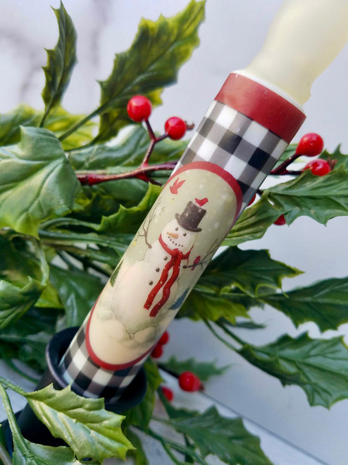 Battery LED Taper Candle Black & White Check with Snowman