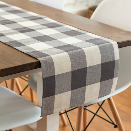 Reversible Cotton Buffalo Check Table Runner - A
