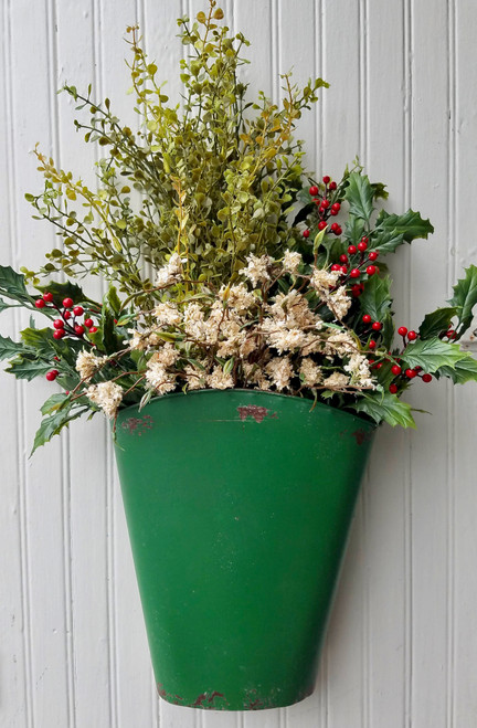 Painted & Distressed Wall Bucket GREEN with Christmas Winter Flowers