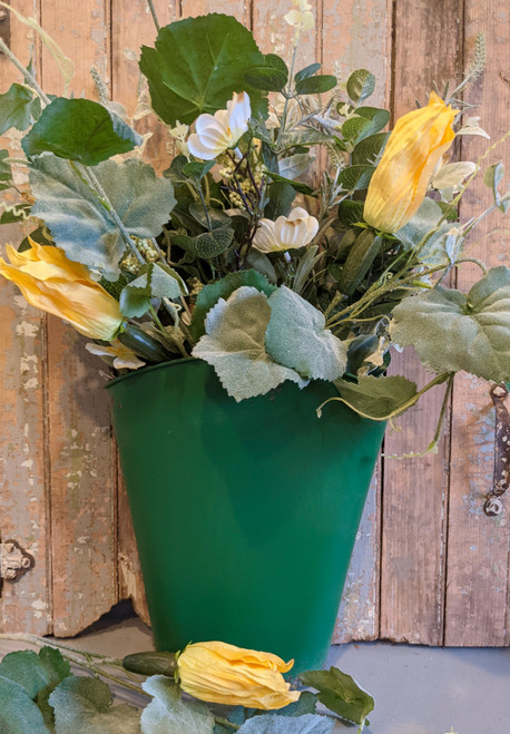 Painted & Distressed Wall Bucket GREEN with Spring Florals