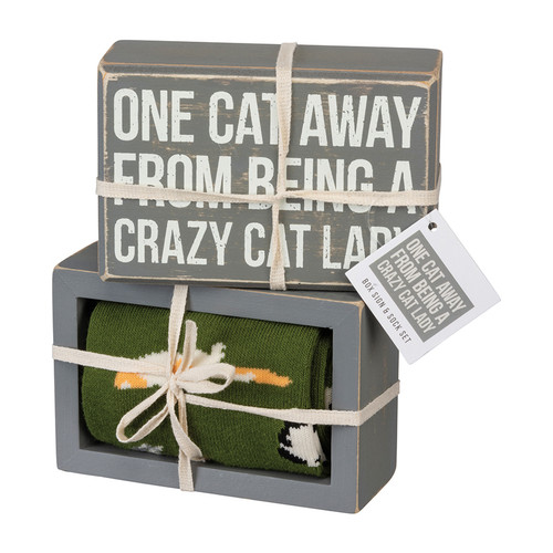 One Cat Away from Being a Crazy Cat Lady - Box Sign & Socks Gift Set