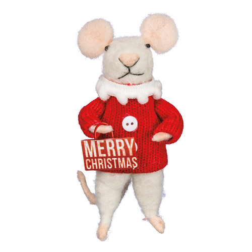 Wool Merry Christmas Mouse Ornament