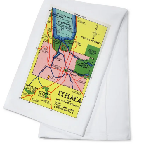 Custom Kitchen Towel with Vintage Map Ithaca, NY